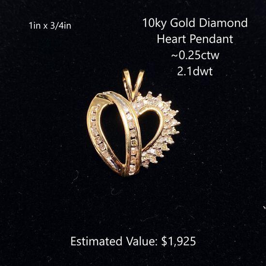 10kt Diamond Heart Pendant ~0.25ctw, 2.1dwt