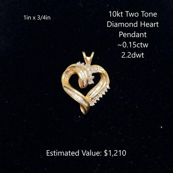 10kt Two Tone Dia. Heart Pendant ~0.15ctw, 2.2dwt