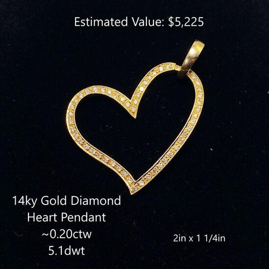 14kt Diamond Heart Pendant ~0.20ctw, 5.1dwt