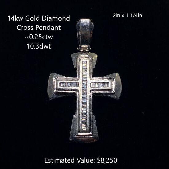 14kt Diamond Cross Pendant ~0.25ctw, 10.3dwt