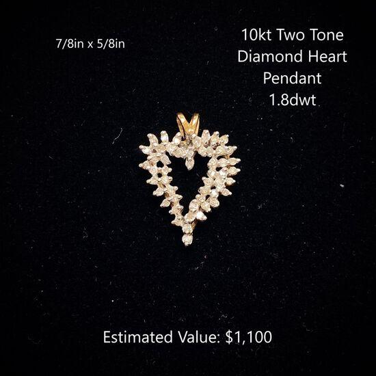 10kt Two Tone Diamond Heart Pendant 1.8dwt