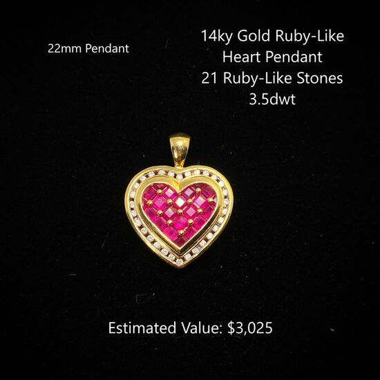 14kt Ruby-Like & Diamond Heart Pendant
