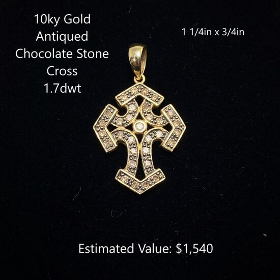 10kt Antiqued Chocolate Stone Cross 1.7dwt
