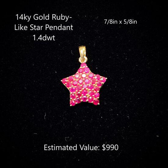 14kt Ruby-Like Star Pendant 1.4dwt