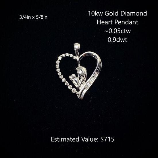 10kt Diamond Heart Pendant ~0.05ctw, 0.9dwt