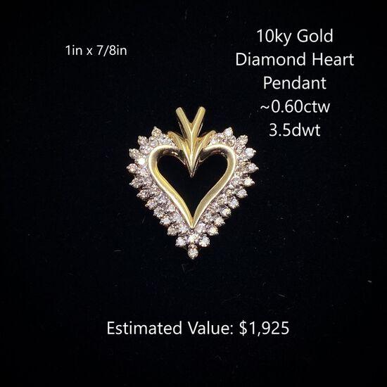 10kt Diamond Heart Pendant ~0.60ctw, 3.5dwt