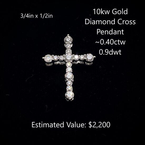 10kt Gold Diamond Cross Pendant ~0.40ctw, 0.9dwt