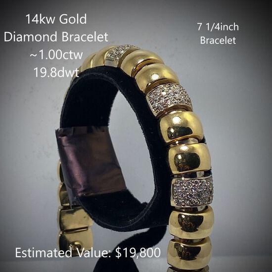 14kt Diamond Bracelet ~1.00ctw, 19.8dwt