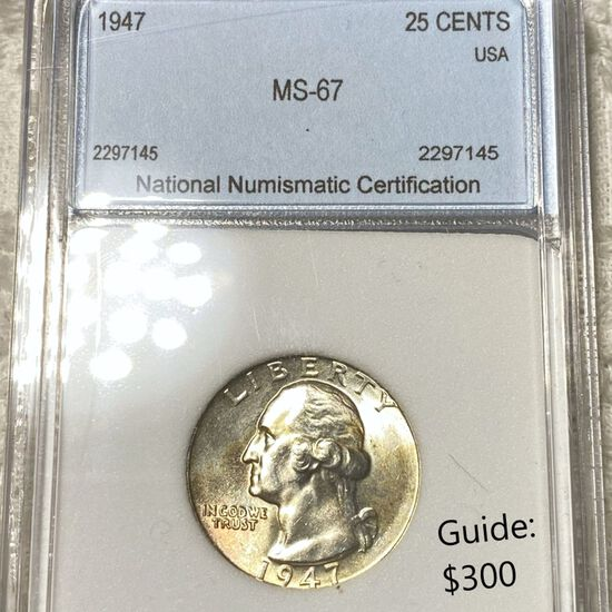 1947 Washington Silver Quarter NNC - MS67