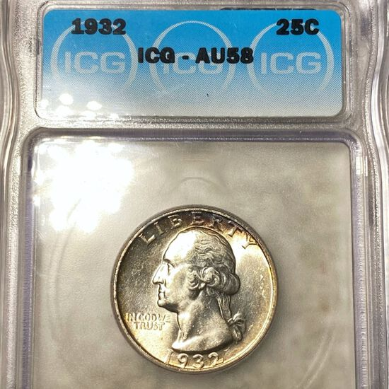 1932 Washington Silver Quarter ICG - AU58