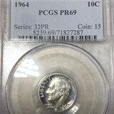 1964 Roosevelt Silver Dime PCGS - PR69