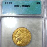 1913 $5 Gold Half Eagle ICG - MS63