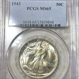 1943 Walking Half Dollar PCGS - MS65