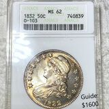 1832 Capped Bust Half Dollar ANACS - MS62 O-103