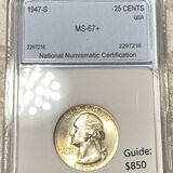1947-S Washington Silver Quarter NNC - MS67+