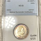 1883 Kingdom Of Hawaii Quarter NNC - MS65