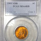 1909 V.D.B. Lincoln Wheat Penny PCGS - MS 64 RD