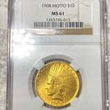 1908 $10 Gold Eagle NGC - MS 61 NM