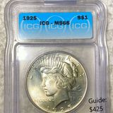 1925 Silver Peace Dollar ICG - MS66