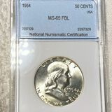 1954 Franklin Half Dollar NNC - MS 65 FBL