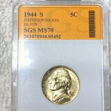 1944-S Jefferson War Nickel SGS - MS70