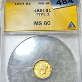 1854 Rare Gold Dollar ANACS - MS60
