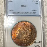 1890 Morgan Silver Dollar NNC - MS65