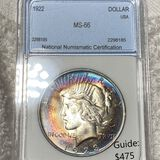 1922 Silver Peace Dollar NNC - MS66