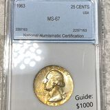 1963 Washington Silver Quarter NNC - MS67
