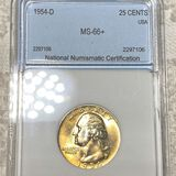 1954-D Washington Silver Quarter NNC - MS66+