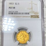 1853 $2.50 Gold Quarter Eagle NGC - AU 58
