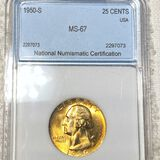 1950-S Washington Silver Quarter NNC - MS67