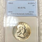 1959-D Franklin Half Dollar NNC - MS65 FBL
