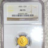 1855 Rare Gold Dollar NGC - AU 55