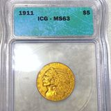 1911 $5 Gold Half Eagle ICG - MS63