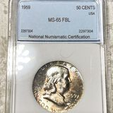 1959 Franklin Half Dollar NNC - MS65 FBL