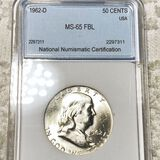 1962-D Franklin Half Dollar NNC - MS65 FBL