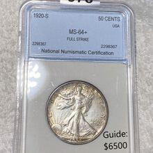 1920-S Walking Half Dollar NNC - MS64+