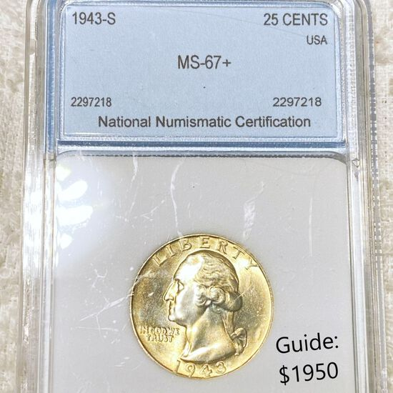 1943-S Washington Silver Quarter NNC - MS67+