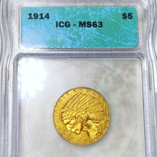 1914 $5 Gold Half Eagle ICG - MS63