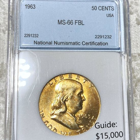 1963 Franklin Half Dollar NNC - MS 66 FBL