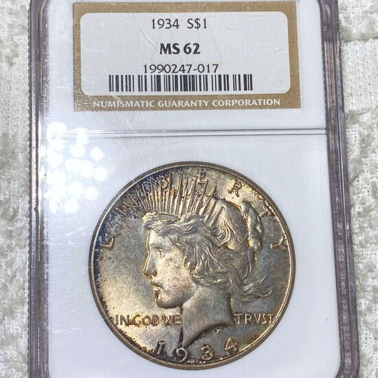 1934 Silver Peace Dollar NGC - MS62