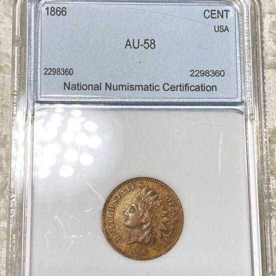 1866 Indian Head Penny NNC - AU58