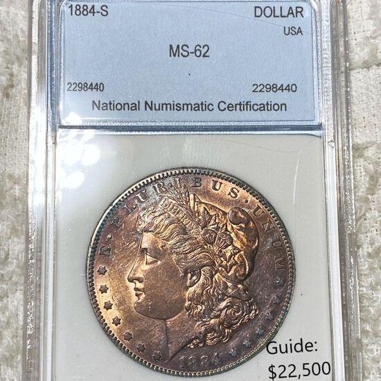 1884-S Morgan Silver Dollar NNC - MS62