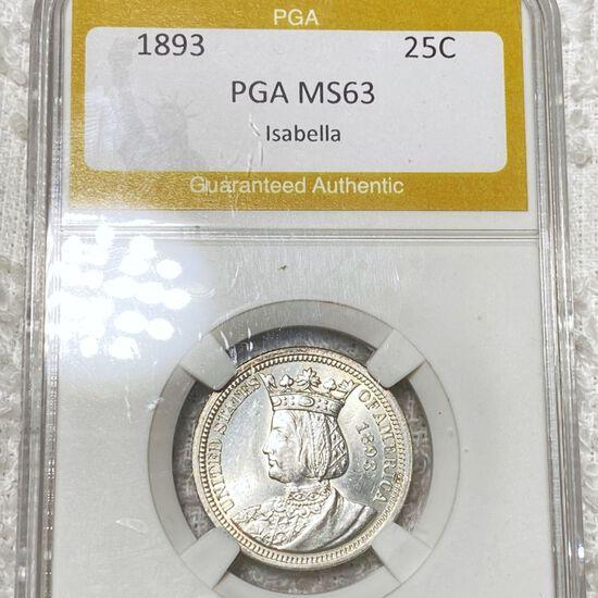 1893 Isabella Silver Quarter PGA - MS63