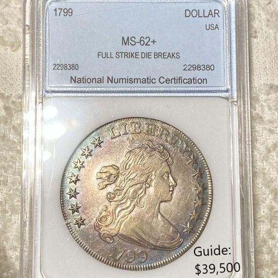 1799 Draped Bust Dollar NNC - MS62+ FS DB