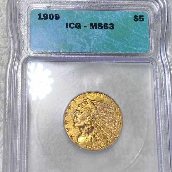1909 $5 Gold Half Eagle ICG - MS63