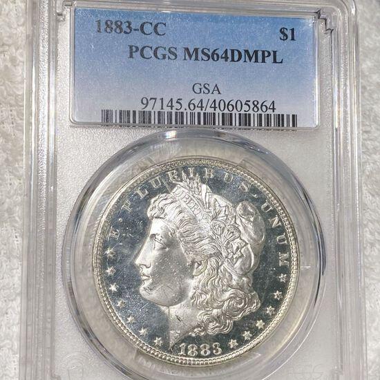 1883-CC Morgan Silver Dollar PCGS - MS 64 DMPL