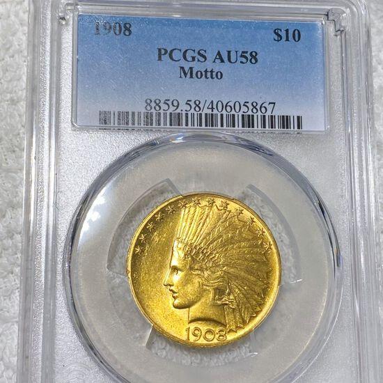 1908 $10 Gold Eagle PCGS - AU58 MOTTO
