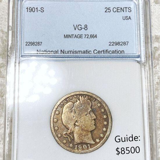 1901-S Barber Silver Quarter NNC - VG8